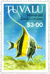 Tuvalu postage stamp showing tropical fish